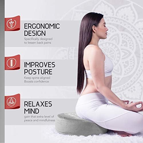 Florensi Cojín de meditación (40,6 x 40,6 x 12,7 cm), almohada de meditación de terciopelo grande, almohada de yoga premium para mujeres y hombres, cojín de yoga, almohadas de meditación para sentarse en el piso, cojines de meditación de trigo sarraceno 4