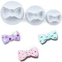 Cookie Cutter Plunger - 3 Pieces/Set Bow Tie Shape Cookie Mold Plastic White Sugar Arts Set Fondant Cookie Cutters Cookie Plunger Cutters Fondant Mold