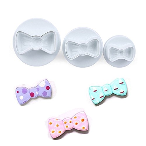 Quilted Bow - Cookie Cutter Plunger - 3 Pieces/Set Bow Tie Shape Cookie Mold Plastic White Sugar Arts Set Fondant Cookie Cutters Cookie Plunger Cutters Fondant Mold