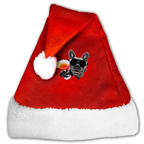 FQWEDY Bulldogs Drink Cocktails. Unisex-Adult's Santa Hat, Velvet