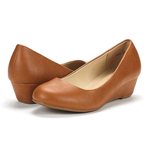 Paires De Rêve Femmes Debbie Milieu Talon Talon Pompe Chaussures Tan Pu