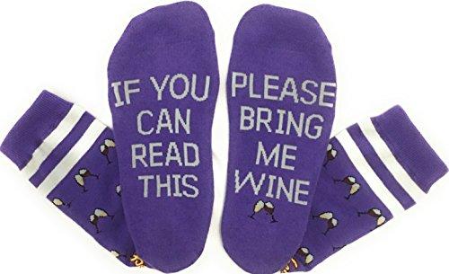 Saucey Socks - NEW! Please Bring Me Wine Socks (9-11, WINE - Purple with Toasting Wine (Purple Wine)