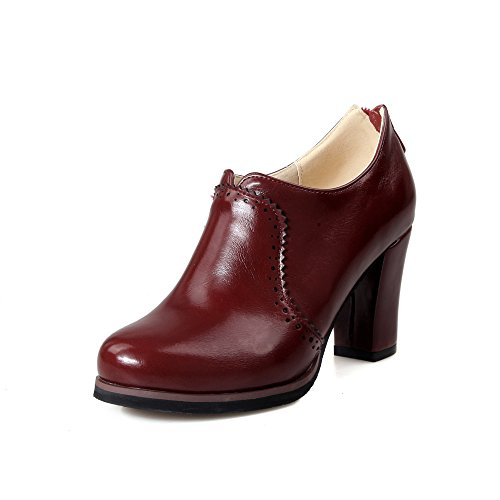 Inornever Women's Oxfords Pumps Shoes Slip on Wingtip Fashion Vintage Pu Chunky High Heel Ankle Brogue Bootie Wine Red 7 B (M) US ()