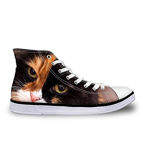 Shoes Girls Cute Cat College Canvas Women Cat DESIGNS Non Slip Top for Animal FOR High Sneakers 6 U UqOaPwqgA