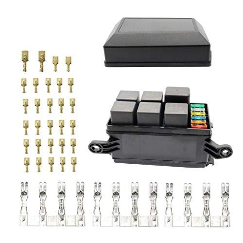 Homyl 6 Way ATC/ATO Fuse Holder Relay Box w/Terminals+ 4 Pin 12V 40A Relay+5Pin 40A Relays: