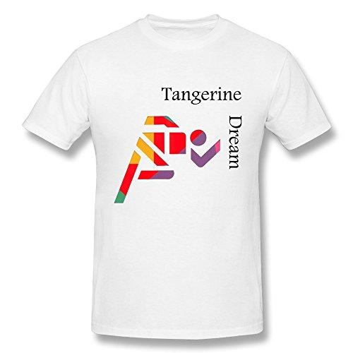 (Hsuail Men's Tangerine Dream Band Album Cover T-Shirt White US Size L)