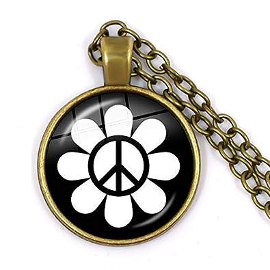 Peace Sign Necklaces Hippie Peace Car Necklace Retro Vintage Flower Power Hippi Jewelry Seventies