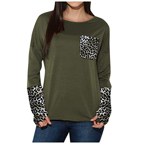 18.5 Inch Classic Cast - Aunimeifly Women's Leopard Pocket Patchwork Blouse Casual Loose T-Shirts Ladies Long-Sleeved Tops with Thumb Holes(M,Green)