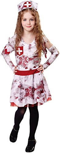 Childrens Halloween Fancy Dress (Girls Zombie Nurse Uniform Emergency Services Halloween Horror Scary Fancy Dress Costume Outfit 4-12 Yrs (10-12)