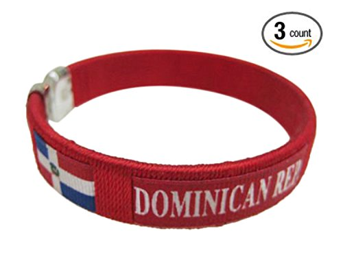 Flag C Bracelets Wristbands - America (3-Pack, Country: Dominican Republic)