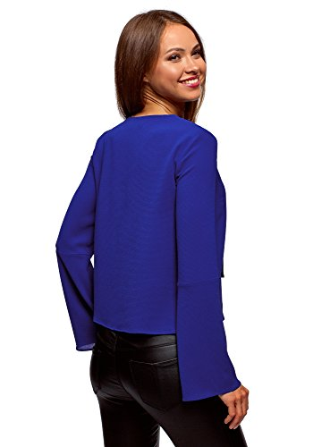 ud Femme Ultra Blouse 7500n et N Bleu oodji Cloches Manches avec RwXxqTq6