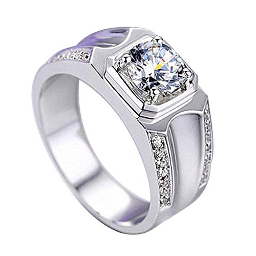 Hyuniture Couple Ring Fashion Glamour Silver Plated Square Men's Shiny Adjustable Diamond Ring