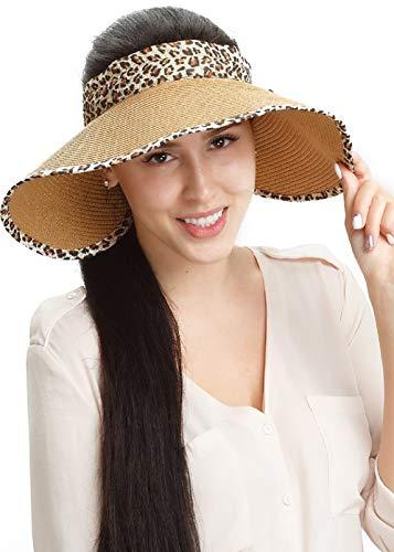 Straw Sun Visor Hats Women Large Brim Summer Hat UV Protection Beach Cap Foldable Khaki