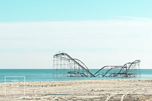 Jet Star Roller Coaster in the Ocean after Hurricane Sandy - Seaside Heights, New Jersey - Retro color print