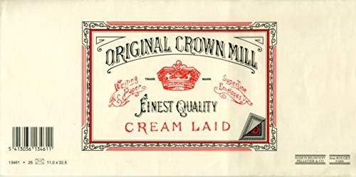Original Crown Mill 'Classic Line' Briefumschläge DIN Lang Büttenpapier mit feiner Rippenstruktur - Cremefarben(25 Stück)