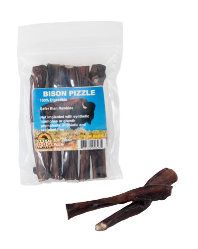 Great Dog Bison Pizzle (Bully Sticks)–5, 6″ Pieces (Sourced and Made in USA), My Pet Supplies