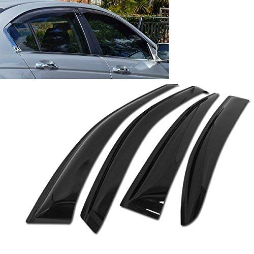 Atomsonic AMS1586 Black N//A Atomsonic Sun//Rain Guard Vent Shade Window Visors Wind Deflector for 2008-2012 Honda Accord Tape-On Wind Deflector 4pc Non-Carb Compliant 4 4 Door Sedan