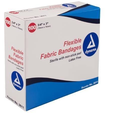 3' Fabric Bandage (ECONOMY VALUE FLEXIBLE FABRIC BANDAGE 3/4'' X 3'' 100/BOX by Dynarex)