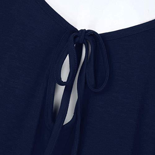 Confortable De Courtes Haute Tee Casual Nues Manche Col Femme Mode Shirt Qualit Et Manches Tshirts Shirts paules O Bandage Uni Elgante Marine Haut Chic aHqFnxwWU
