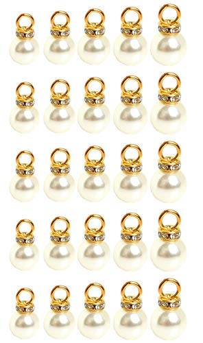 12mm White Faux Pearl Earrings - 50 Pack Assorted 5 Sizes Faux Natural Pearl Pendant Beads Charms Round Shank Pearl Buttons Rhinestone Embellishments for Jewelry Making Hairband Clothing Accessories Craft Supplies
