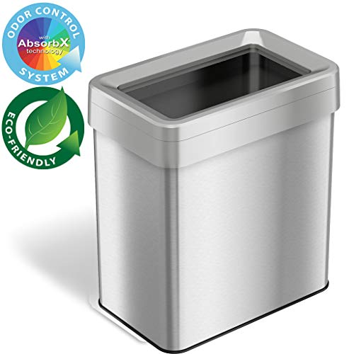 iTouchless 16 Gallon Dual-Deodorizer Open Top Trash Can Rectangular Shape, Commercial Grade Stainless Steel, 61 Liter Recycle Bin, Silver