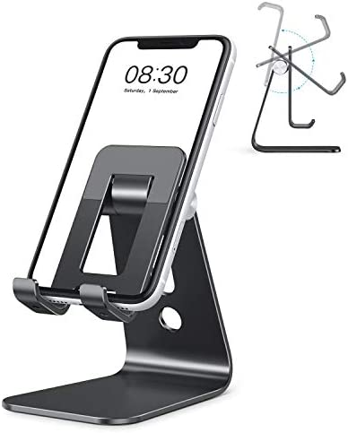 OMOTON C3 Cell Phone Stand for Desk, Larger and Exceptionally Stable, Adjustable Phone Cradle Holder with Bigger Body & Longer Arm, Compatible with iPhone, Tablets (7-10″) and More,Black