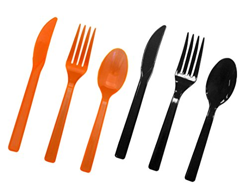 Party Essentials Hard Plastic Cutlery Combo Pack Available in 15 Colors, Orange and Black, 68 Place Settings ()