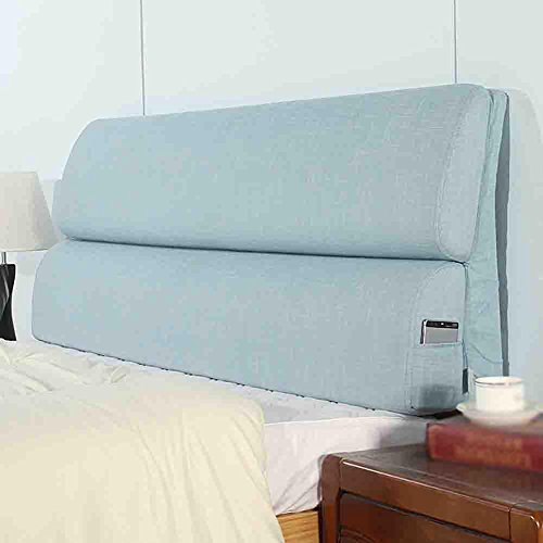 Silver Double Cushion (FLHSLY Double people Bedside cushions Big backrest Lumbar support cushions Reading pillows Washable Back Wedge Cushions , blue , 15355cm)
