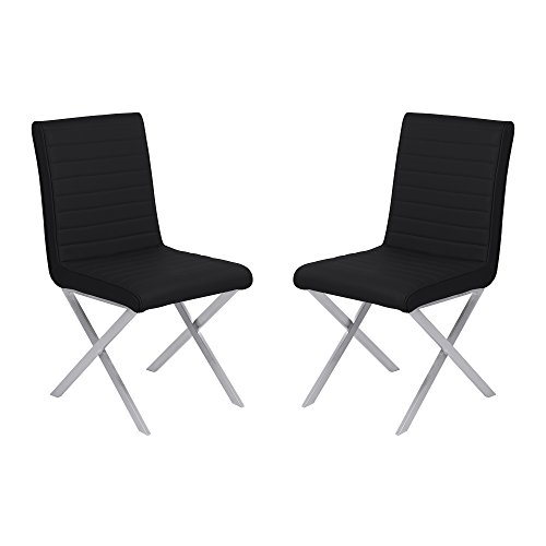 Armen Living LCTESIBLBS Tempe Dining Chair Set of 2 in Black Faux Leather and Brushed Stainless Steel Finish (Chairs Dining Leather Cross)