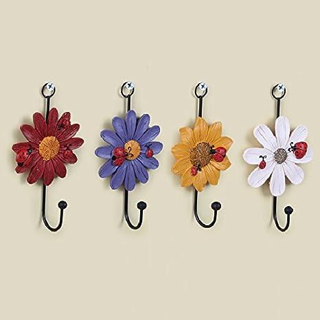 GUOYIHUA - Ganchos para Puerta con Forma de Flor, Gancho para la Ropa, Toalla