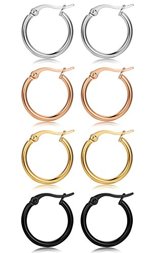 FIBO STEEL 4 Pairs 4 Colors Stainless Steel Small Hoop Earrings for Women Girls Huggie Earrings 10MM-25MM