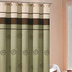 DR International Maggie Embroidered Shower Curtain in Sage