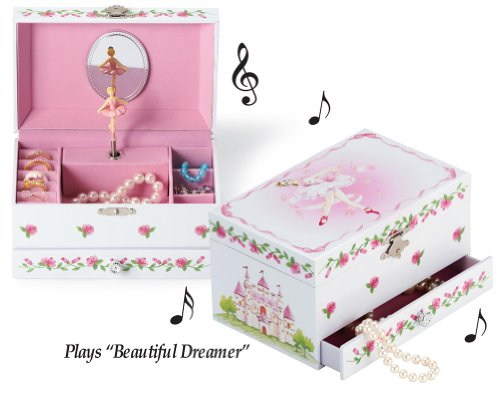 Collections Etc Girls Wind Up Pink Ballerina Musical Jewelry Box with Mirror - Plays Beautiful Dreamer ()