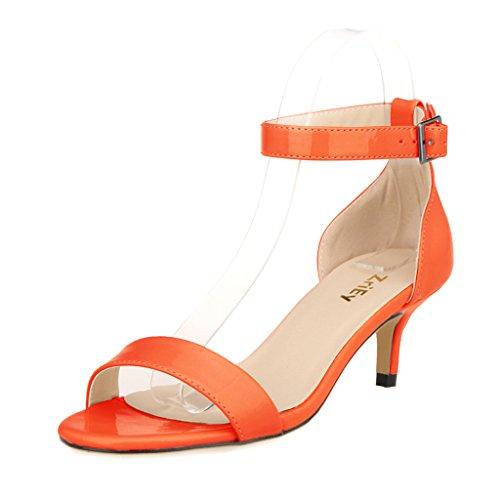 ZriEy Women Sexy Open Toe Ankle Straps Low Heel Sandals Orange Size (Orange Patent Sandals)