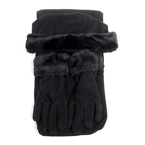 Cloche Fur Trim 3 Piece Fleece Hat, Scarf & Glove Women
