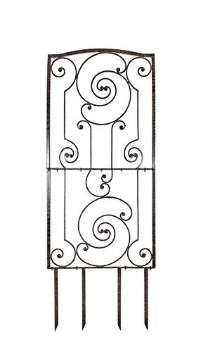 (H Potter Iron Garden Trellis Panel - Outdoor Yard & Wall Art Décor - Display Potted or Climbing Plants, Vegetables, Vines, Flowers - Charcoal Brown)