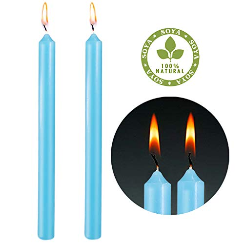 YCYH Caspari 10-Inch Taper Dripless, Smokeless, Unscented Candles, Marine Blue, Set of 2