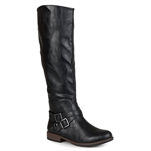 Journee Collection Womens Regular Sized and Wide-Calf Ankle-Strap Buckle Knee-High Riding Boot Black, 7.5 Regular US