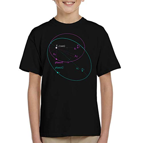 Maths and Science Keplers Law of Planetary Motion Kid's T-Shirt Black (Kepler 3 Laws Of Planetary Motion For Kids)