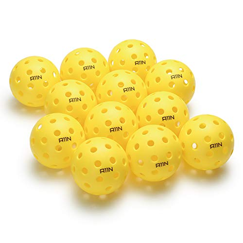 A11N Premium 40 Holes Outdoor Pickleball Balls, Durable Ball with Nice Bounce, Special Design for Outdoor Courts (6 &12…