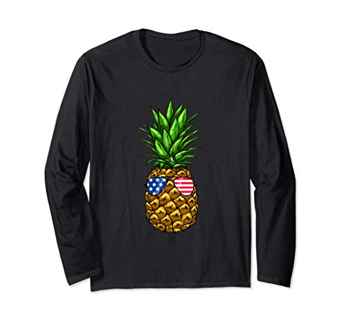 Hawaiian Pineapple American Flag Sunglasses 4th of July  Long Sleeve T-Shirt
