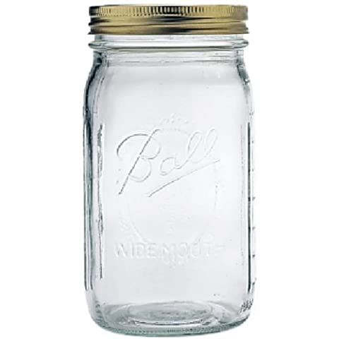 Ball Mason Jar Wide Mouth 32 oz. (Quart) with Lid and Band (4 Pack)