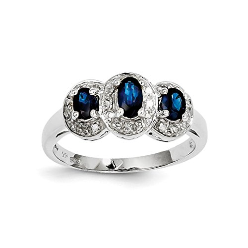 925 Sterling Silver Sapphire Diamond Band Ring Size 8.00 Stone Gemstone Fine Jewelry Gifts For Women For Her from ICE CARATS