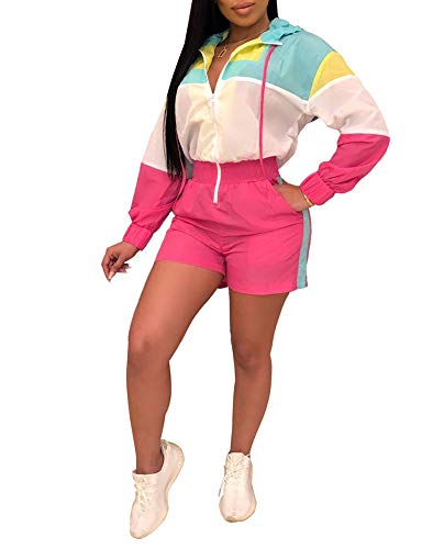 (Salimdy Women Casual V Neck Collar Stripe Long Sleeve Zipper Elastic Waist Windbreaker Romper Jumpsuit Playsuit Rose)