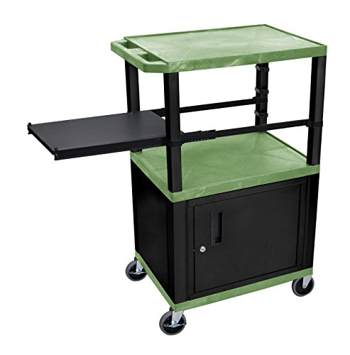 (H WILSON WTPSP42GC2E-B Presentation Station, 3-Shelf with Black Legs, Cabinet and Side Pull-Out Shelf, Tuffy, Green)