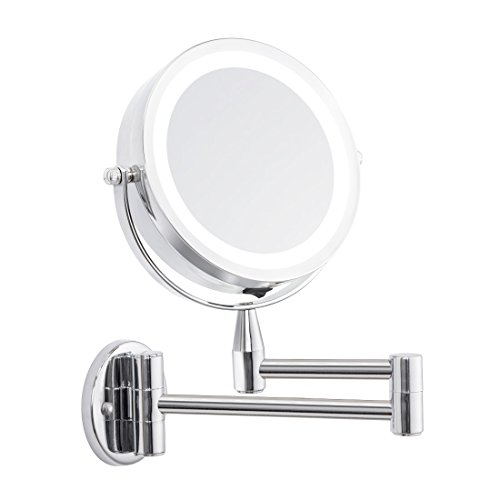FIRMLOC Lighted LED Makeup Comestic Mirror Wall Mounted Double Side Vanity Mirror 3X/1X Magnification 360° Rotation Adjustable Stainless Steel, Powered by 4 x AAA Batteries (not Included) -