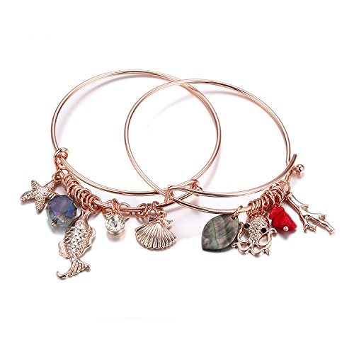 - HONGYE 1 Set 2 Pcs Ocean Shell Starfish Octopus Rhinestone Pendant Adjustable Bangle Bracelet