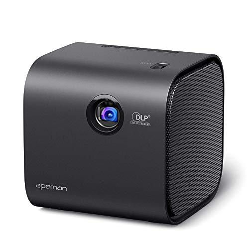 Mini Projector, APEMAN Portable DLP Video Projector, Full HD 1080P Supported, Built-in Battery with Bluetooth Stereo Speakers, Compatible with Laptop/TV Box/PS4/Phone for Home/Outdoor Entertainment