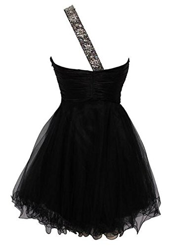 BD008 Beaded One Black Short BessDress Prom Party Shoulder Tulle Homecoming Dresses BfWqdzxw7