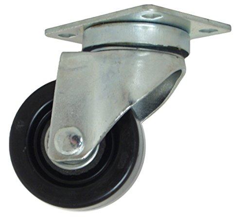 "RWM Casters VersaTrac 27 Series Plate Caster, Swivel, Phenolic Wheel, Ball Bearing, 250 lbs Capacity, 3"" Wheel Dia, 1-1/4"" Wheel Width, 4-1/4"" Mount Height, 3-3/4"" Plate Length, 2-5/8"" Plate Width from RWM Casters"